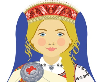Latvian Wall Art Print features culturally traditional dress drawn in a Russian matryoshka nesting doll shape