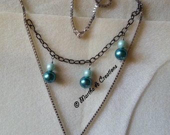 Teal Double Chain Necklace & Pierced Earring Set
