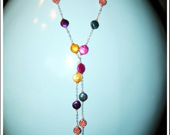 Hand made fashionable necklace with fresh water multi color pearls and copper plated beads