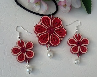 Red Flower - Quilling Jewelry - Flower jewelry - Quilling set- Paper quilling jewelry