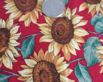 FABRIC SUNFLOWERS DANCING/A One Yard Piece/ Vivid Red Background/ Dancing Sunflowers Atop/Cotton