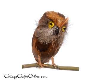 """Owl, Brown Feathers, 5.5"""" long, with wires, Fall Bird Decor, Wreath /  Floral / Craft Supply Faux Owl"""