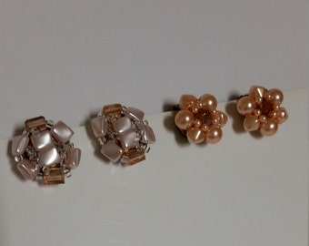 Vintage beaded clip on earrings, made in Japan, pink and coral beads, 2 pairs, vintage earrings, vintage clip