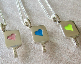 Acrylic Filled Hearts in Sterling Silver Pickleball Paddle-Pb 14f