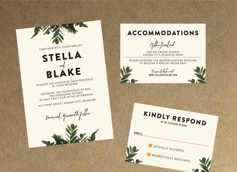 Modern Botanical Greenery Wedding Invitation // DIY Printable