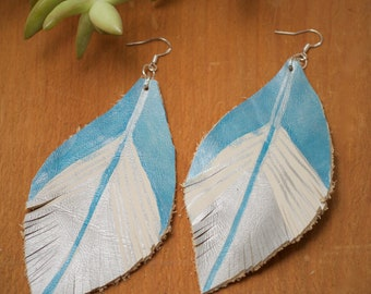 Hand Painted Silver and Blue Feather Earrings