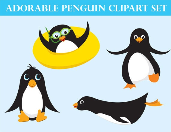 cute penguin clipart ocean animals instant download instant rh etsy com  ocean animals clipart black and white