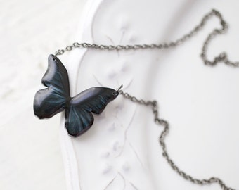 Black Butterfly necklace, Black Butterfly wings necklace, Butterfly jewelry, Butterfly pendant, Gift for her butterfly, Black pendant