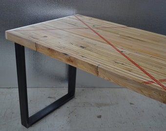 Dining Table - Reclaimed Oak - Industrial Edge