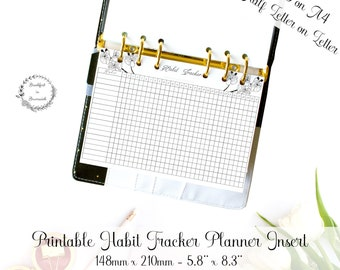 Monthly Habits Insert, A5 Habit Tracker, Half Size Planner, Habit Tracking Printable, Monthly Progress, Habits Binder Page, Ring Planner A5