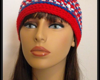 Crocheted Basic Beanie hat!!! Red, White and Blue!  Ready to Ship!