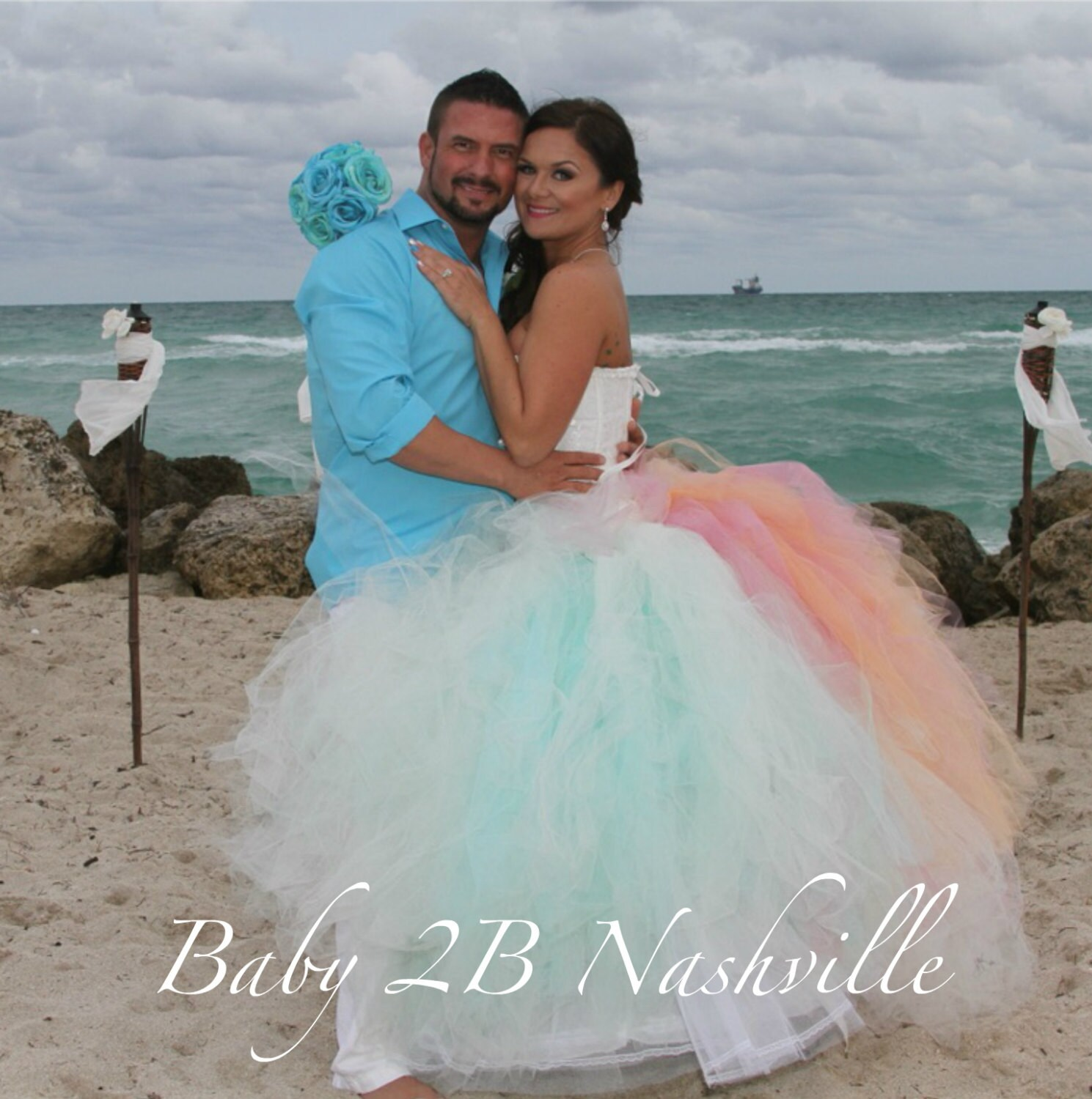 Beach Wedding Tulle Skirt Aqua Tulle Skirt Wedding Skirt Wedding ...