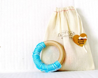 "Modern natural wood teether, Montessori baby toy , gift for new baby , 3"" wood ring"