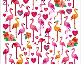 Flamingo Love Stickers • Flamingo Sticker • Tropical • Heart Sticker • Love Sticker • Hibiscus Sticker • Hibiscus Flower (SK4250)