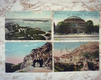 Set of 4 vintage postcards - colorized - landscapes