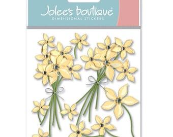 Cream Flower Dimensional Stickers