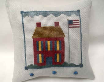 Patriotic Cross Stitch Mini Pillow, Independence Day,  July 4, Primitive House With Flag
