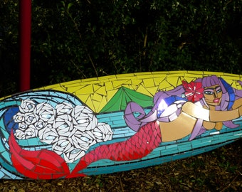 "Mosaic surfboard ""mermaid in the waves"""