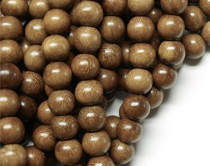 Wood Bead, Round 10mm, Robles - Five 16 Inch Strands (WDRD-10RB)