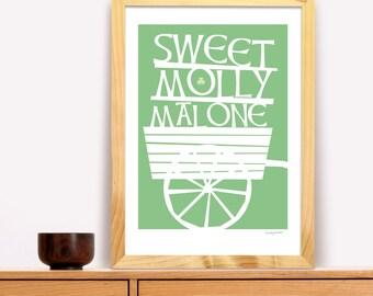 Molly Mallone Modern Irish Trad Poster