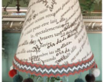 Designer Lampshade with pom pom fringe