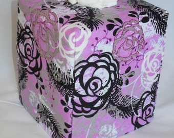 """Ready To Ship - """"Metallic Rose Print on Pink Background """" -  Tissue Box Cover"""