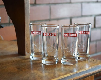Smirnoff Vodka Shot Glasses - Set of 4 - Vintage Alcohol Collectibles - SMIRNOFF VODKA - Official Glasses - Barware