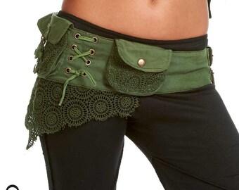 Steampunk utility belt - ASSORTED COLOURS - Gypsy belt, Pocket BELT, hip pack, waist pack, fanny pack, festival clothing, Ccbeol