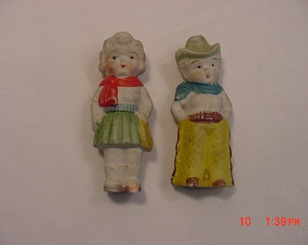 2 Vintage Bisque Frozen Charlotte Dolls - Cowboy & Cowgirl  18 - 854