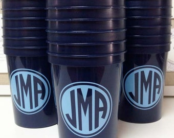 Monogrammed Plastic Stadium Party Cups, Circle Monogram Cups, Personalized Wedding Cups, Wedding Favors, Custom Party Favors, Printed Cups