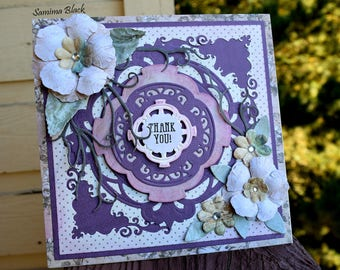 Thank You Card, Handmade Shabby Chic Card, Card with Flowers, Handmade Card, Fancy Card, Floral Card, Boxed card, Purple Card