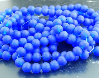 Royal blue frosted glass, set of 20 beads