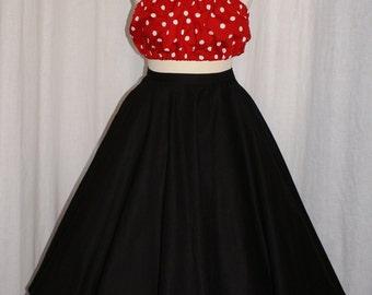 Vintage 1950s inspired plain black true full circle skirt Rockabilly Viva VLV