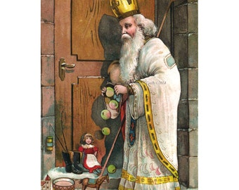 Santa Claus Card - White Robed Saint Nicholas Brings Christmas Gifts
