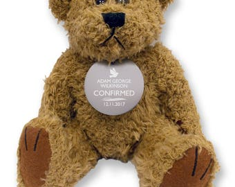 Personalised CONFIRMATION teddy bear gift idea with an engraved metal tag  - TED-CONF1