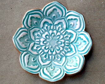 Aqua Ceramic Lotus Ring holder Dish 3 1/4 inches round edged in gold
