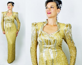"""1980's Lillie Rubin Dress / 80s Lillie Rubin Dress / Beaded Sequin Dress / Gold Event Gown / Evening Formal Gown / Bust up to 38"""" Waist 30"""""""