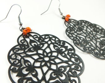 Orange Black Earrings Large Black Statement Earrings Dangle Filigree