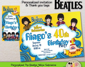 DIGITAL - PERSONALIZED - The Beatles - Yellow Submarine - Invitation And Thank you tags - PRINTABLE -Jpg 300dpi