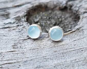 Aquamarine Gemstone Stud Earrings in Sterling Silver