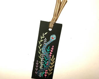 Handpainted Bookmark of Love Patterned Snake Among Leaves