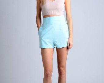 vintage 50s mint acqua shorts / more colors and sizes / retro shorts / 50s shorts / vintage shorts / pin up shorts / high waist shorts