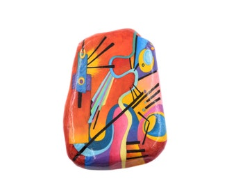 Hand-painted rock marble pebble with a painting of Kandinsky
