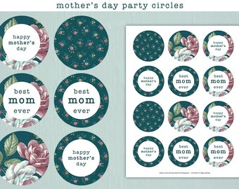 Printable Mothers Day Cupcake Toppers, Mothers Day Printable Cupcake Toppers, Flower Cupcake Toppers, Printable Mothers Day Party Decor