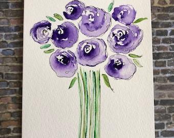 Original Watercolor Flower Card, Hand painted flower card, Homemade flower card