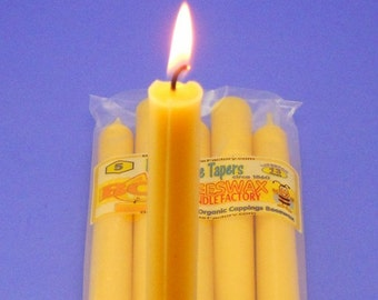 "Beeswax Tapers, 5 Pack of 1860's Antique Beeswax Tapers, Gift for Her, 0.75"" x 10"" Organic Tapers, Antique Candles, Victorian Candles"