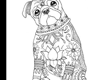 Art of Pug Coloring Book Volume No. 1 - Physical Book