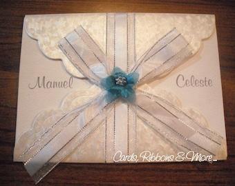 Wedding invitation, unique wedding invitation, handmade wedding invitation, silver invitation, white card, original invitation