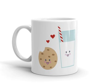 Milk and Cookies Mug (milk and cookies, BFF, gifts for kids, cookie, kawaii, cute, love, kids, coffee, tea, office, drink) by Kathrin Legg