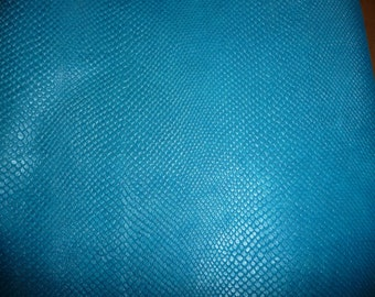 """Leather 8""""x10"""" Amazon Cobra  Pearlized AMERICAN TURQUOISE BLUE Embossed Soft Cowhide2.25-2.5oz/.9-1mm PeggySueAlso™ E2972-03"""